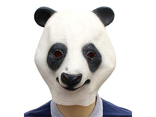 Yuchoi Funny Cute Latex Panda Mask Funny Latex Mask Head Cover Halloween Masquerade (White) by Yuchoi (Image #5)