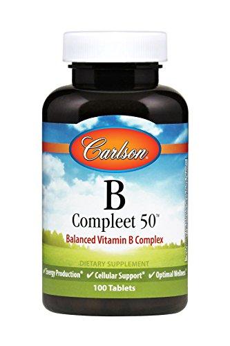 Vitamin 50 B Complex Tablets (Carlson B-Compleet 50, B Complex, 100 Tablets)