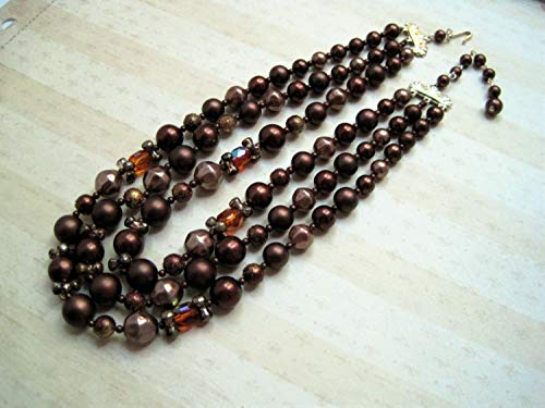 baken Chocolate Vintage Beaded Choker Necklace/Brown Sugar Bead Crystal Multi Strand / 50s 60s Glamour