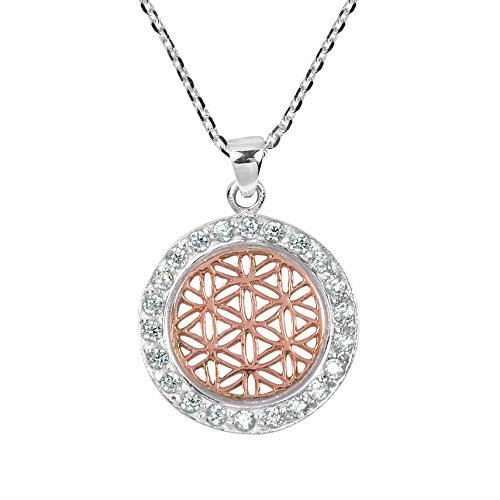 AeraVida Flower of Life Rose Gold Over Silver .925 Sterling Silver Pendant Necklace