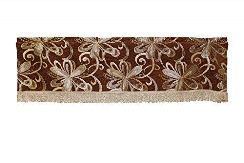 Violet Linen Chenille Chateau Vintage Floral Design Window Valance, 60