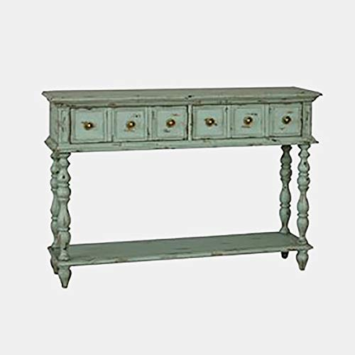 (Wood Console Table with Turned Legs - Console Table with 2 Drawers and 1 Shelf - Aged Turquoise )