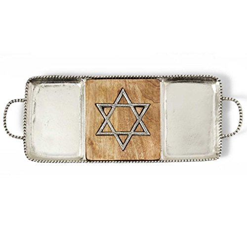 Mud Pie Star of David Cast Aluminum and Wood Sectional Serving Tray by Mud Pie