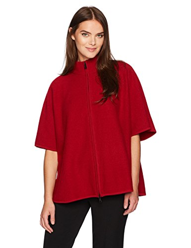 (Anne Klein Women's Zip Front Boiled Wool Cape, Titian RED, S)