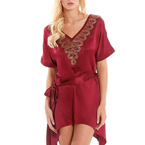 Sleepshirt Embroidered (ZYG.GG Summer Pajamas Ladies Short Sleeve Silk Nightdress Embroidered V-Neck Tracksuit Belt Smooth Comfortable,XL)