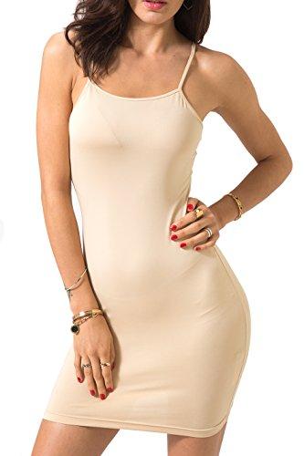 Chifave Women's Sexy Bodycon Spaghetti Strap Cami Slip Under Mini Dress (M, Nude)