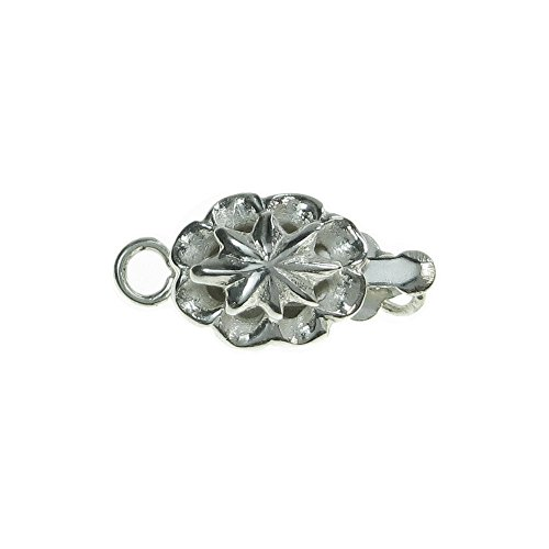 - 1 pc 925 Sterling Silver Spring Flower Blossom 1 Strand Oval Pearl Box Clasp 14mm Connector Switch / Findings