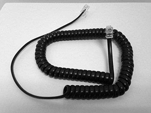 The VoIP Lounge Replacement 9 Ft Black Handset Receiver Curly Coil Cord for Shoretel IP Phone 110 115 210 212 230 230G 265 420 480 480G 485 565 560 530 - Phone Coil Black Handset