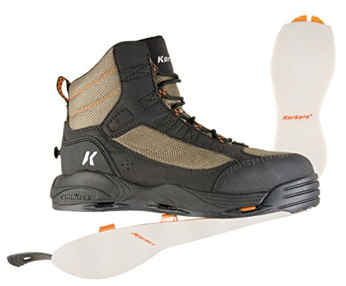 Korkers Greenback Wading Boot with Felt Sole, Dried Herb/Black , Size 13