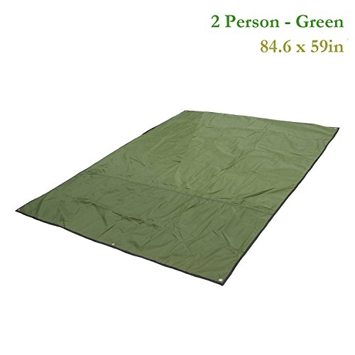 Weanas Multipurpose Waterproof Tent Tarp Footprints Outdoor Camping Shelter Canopy Cover Blanket Mat (Green 7x5 ft)