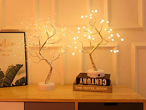(Feisenx Indoor Net Red Explosion Color Lantern Touch Screen Switch Pearl Firefly Led Copper Light Tree Light Night Light Silver Flower)