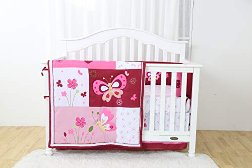 rn Luxury Quality 4 Piece Crib Bedding Sets for Girls and Boys, Set Includes, Fitted Sheet, Crib Bumper, Crib Skirt and Reversible Quilt (Butterfly) ()