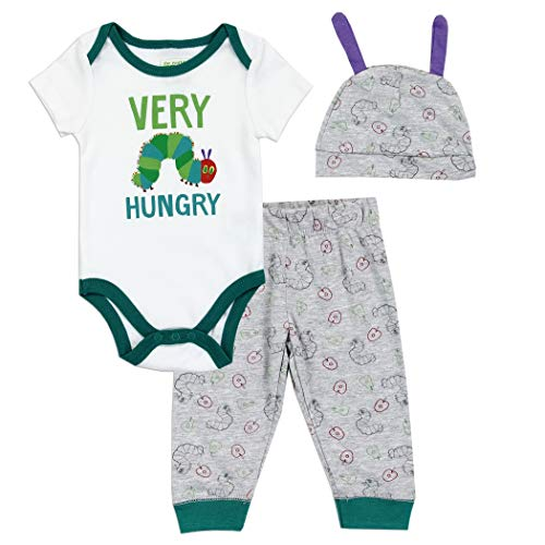 Eric Carle Baby Boys' The Very Hungry Caterpillar 3 Piece Pants Set (6/9M) White/Grey]()