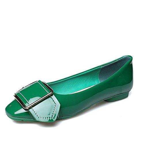 AalarDom Mujer Sin cordones Puntera Cuadrada Material Suave Sólido Plano Verde-Hebilla