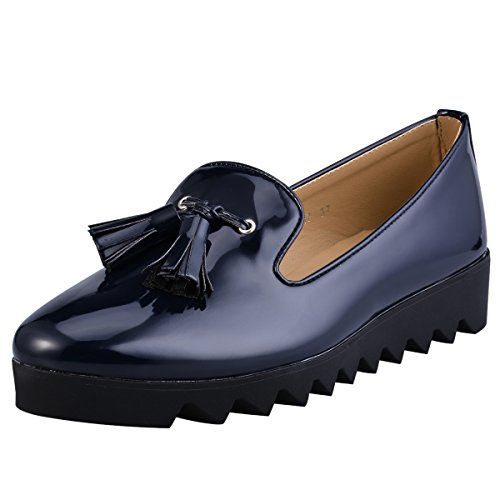 Hengfeng Cuero Borla Barco Antideslizante Zapatos 1346-17 Azul oscuro