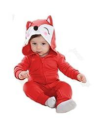 Tonwhar Unisex Baby Cartoon Animal Hooded Zip-up Sweatshirt Jumpsuit