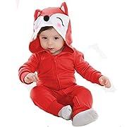 Tonwhar Unisex Baby Cartoon Animal Hooded Zip-up Sweatshirt Jumpsuit (80(ages 6-12 months), red fox)