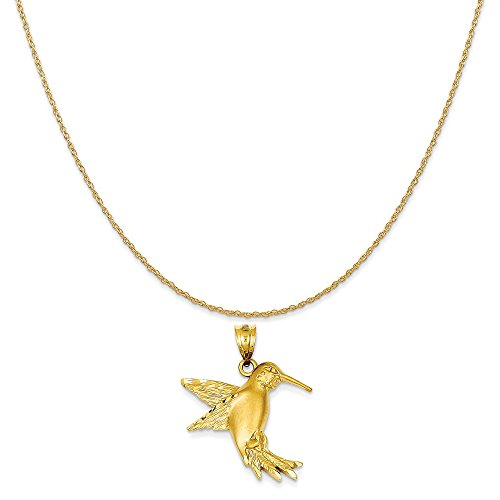 Mireval 14k Yellow Gold Hummingbird Charm on a 14K Yellow Gold Rope Chain Necklace, 20