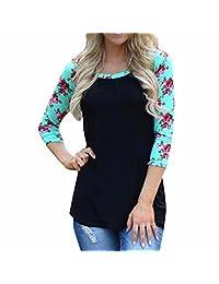 QIYUN.Z Womens Flower Pattered Long Sleeve T-shirt Fall Outdoor Blouse Tops