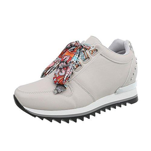 G Mode design Ital High Chaussures Baskets Compensé Gris Femme Sneakers 124 Clair Espadrilles xPFwaFq