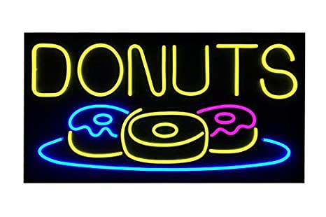 Amazon.com: BuyDirectSign LED Donuts Sign - Pizarra de ...