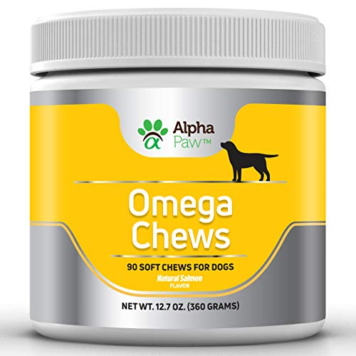 Alpha Paw Omega 3 6 9 for Dogs - Dog Omega 3 Supplement with Salmon, Salmon Oil, DHA, Flaxseed, Biotin - Dog Skin and Coat Supplements- Allergy, Immune, Hip and Joint - 360 grams Approx. 90 Soft Chews (Omega 3 6 9 Supplement For Dogs)