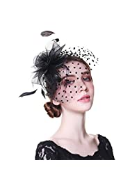 WELROG Women Fascinators Feather Handmade Church Hat Party Headwear