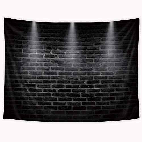 Riyidecor Black Wall Tapestry 80x60 Inch Brick White Stage Lighting Simple Vintage Shabby Chic Tapestry Cool Industrial Modern Fashion Wall Hanging Indigenous Bedroom Living Room