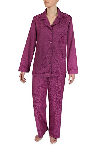 Brushed Back Satin Pajamas (Heavenly Bodies Satin Pajamas, Classic Long Sleeve Notch Collar PJ Set With Brushed Back Satin. Warmth Without The Weight (Large, Wine))
