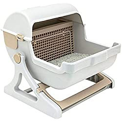 Le You Pet Semi-Automatic Quick Cleaning Cat Litter Box, Luxury Cat Toilet(White/Milk Brown)