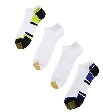 Gold Toe Men's Cushion Liner Socks, 4 Pack (10-13, White Combo)