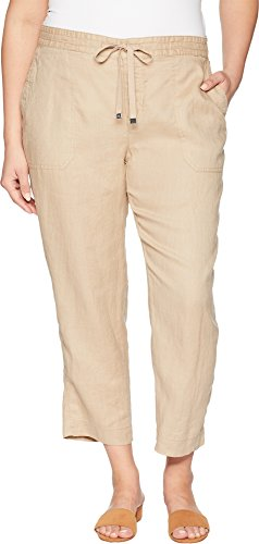Lauren Ralph Lauren Women's Plus Size Straight Linen Pants Birch Tan 18 W (Plus Size Linen Cropped Pants)