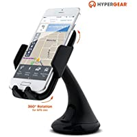 HyperGear Universal Quick Release Car Mount for Dash or Windshield, 360 Swivel, Fully Adjustable Cradle, Padded Grips, Powerful Suction for iPhone & Android Smartphones, Cell Phones, and GPS