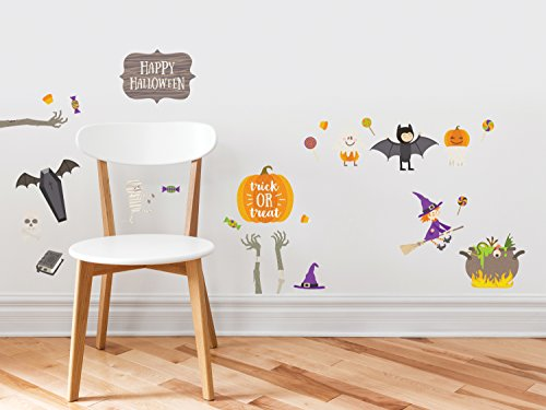 Happy Halloween Fabric Wall Decals - Holiday Trick or Treat Wall Decor, with Pumpkin, Witch, Bat, Ghost, Coffin, and More