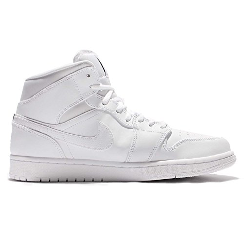 White white black Mid Air Jordan Leather Nike Mens Trainers 1 wq0TOf