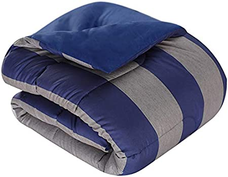 Featuring Brushed Fabric for Added Softness Collegiate Style Mytex Home Fashions Show Your Colors 8- Piece Bed in a Bag Set Varsity Stripe Navy//Grey Twin Silver//White