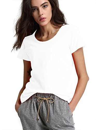 White Basic Crewneck T-shirt (Escalier Women`s Basic Cotton Short Sleeve Crew-Neck Tee Shirt(XS,White))
