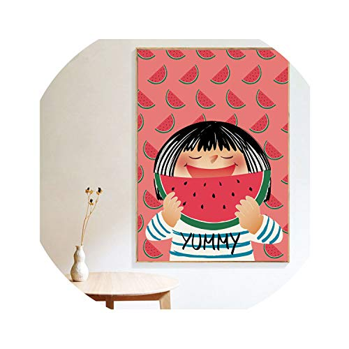 three thousand Lovely Poster Little Girl Watermelon Wall Art Painting Poster Canvas Painting Art and Baby Home Restaurant Wall Decoration,30x40 cm No Frame,Red