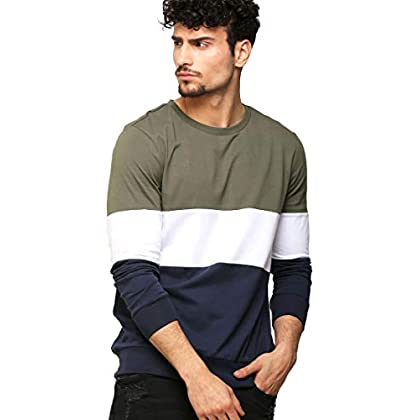 AELOMART Men's Cotton Full Sleeve T Shirt-(Amt1125-P_Olive)