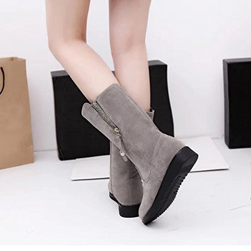 Soft Boots Women Ladies Knight Bling Shoes Flat Warm Buckle Gray Martin erthome qtdEY00