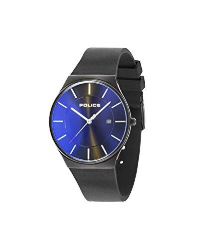 Police Men's Black Rubber Strap Quartz Watch with Blue Dial 15045JBCB/02PA