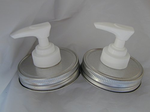 Simply Homemade Silver Lid w/White Pump Double Pack Mason Jar Lotion/Soap Dispenser Lid & Pump