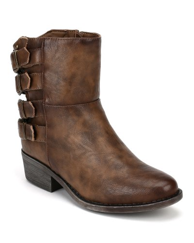Buckle Strappy Bumper Harper02 Bootie Riding Taupe Leatherette qzxTw4R8F