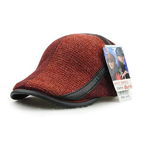 JAMONT Brand Winter Hats for Men Berets Visors Cap Warm Patchwork Men's Hat Knitted Visor Winter Caps England Style Gorras (Vine Red)