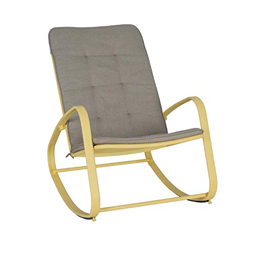 Ulax Furniture Outdoor Patio Garden Rocking Chair with Cushion (Yellow)