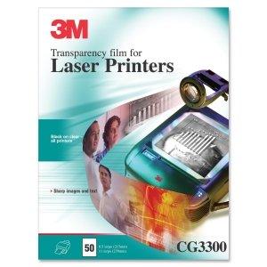 3M CG3300 Transparency Film for Laser Printers, 50