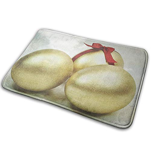 Baerg Non-Slip Stain Fade Resistant Door Mat Three Golden Eggs Living Room Rug Carpet 15.7