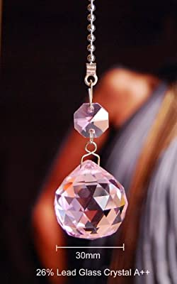2 of Pink Dazzling 26% Lead Crystal Ceiling Lighting Fan Pull Chains 30mm