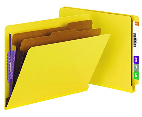 Smead End Tab Classification Folder, Letter, Straight, 2 Dividers, Yellow, 10 per Box (26789)
