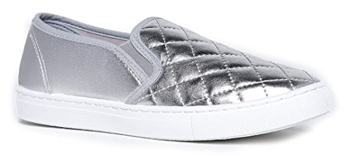 Women's Slip On Quilted Fashion Sneakers Slick Ligh Weight Comfort Casual Sport Athletic Shoes Silver 6.5